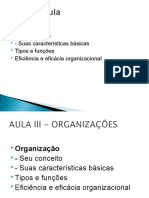 Aula I- Fundamentos da Administração - Organizacaoes