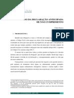 Em torno da declaração antecipada de não cumprimento – Carlos Saraiva