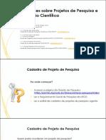 Orientações Projetos de Pesquisa e Iniciação Científica