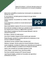 Liste complète des signataires de la tribune « La fin des véhicules essence et diesel ne saurait se traduire par le remplacement d'un monopole énergétique par un autre »