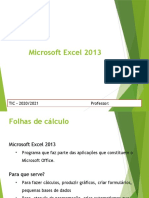 Excel 2013 - folha de cálculo