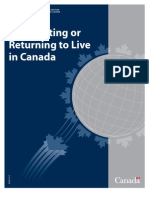 Immigrating or returning to live in Canada