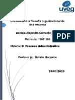 Camacho_daniela_Desarrollado La Filosofía Organizacional de Una Empresa
