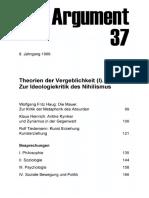 DA037 Theorien Der Vergeblichkeit (I). Zur Ideologiekritik Des Nihilismus