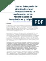 5- El uso contemporáneo de la ayahuasca, entre reivindicaciones terapéuticas y religiosas