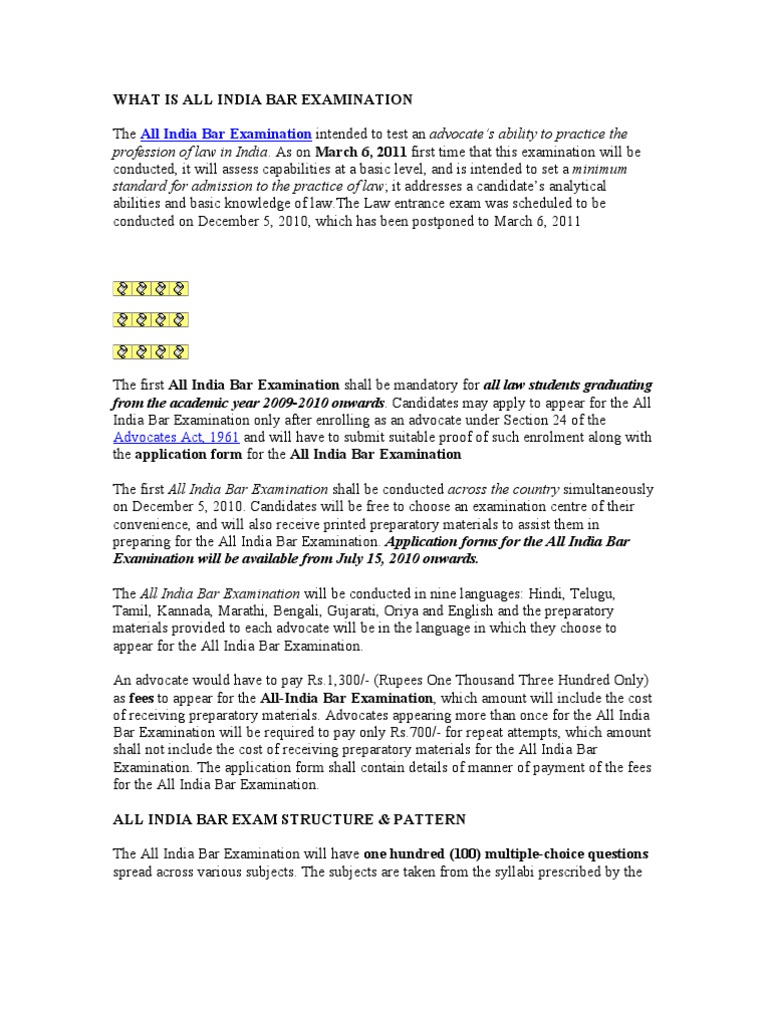 what is all india bar examination advocate test assessment