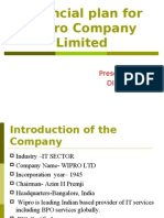 Financial plan for Wipro Company Limited-DIMA