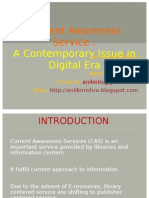 Current Awareness Service - A Contemporary Issue in Digital Era - Anil Mishra