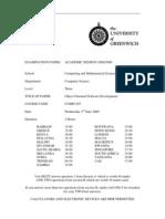 Sample of Object Oriented Software Development Exam (June 2009) - UK University BSc Final Year