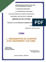 L'Organisation de Chantier d'Un Équipement Culturel