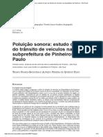 Poluição sonora_ estudo de caso do trânsito de veículos na subprefeitura de Pinheiros – São Paulo