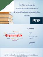 Die Verwendung der Anschaulichkeitsmittel beim Grammatikerlernen der deutschen
