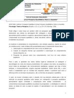 Fichamento texto PESQUISA QUALIT X PESQUISA QUANTITATIVA