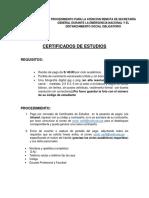 REQUISITOS CERTIFICADOS DE ESTUDIOS