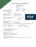 Catalogo de formas válidas de argumentos