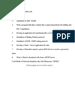 CS 1305 - Network Lab Manual | Network Socket | Port