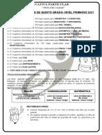 LISTA DE ÚTILES  2021 -5to PRIMARIA