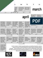 Experiential Lent Calendar