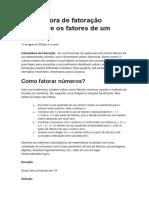 Documento matemática calculo fatore