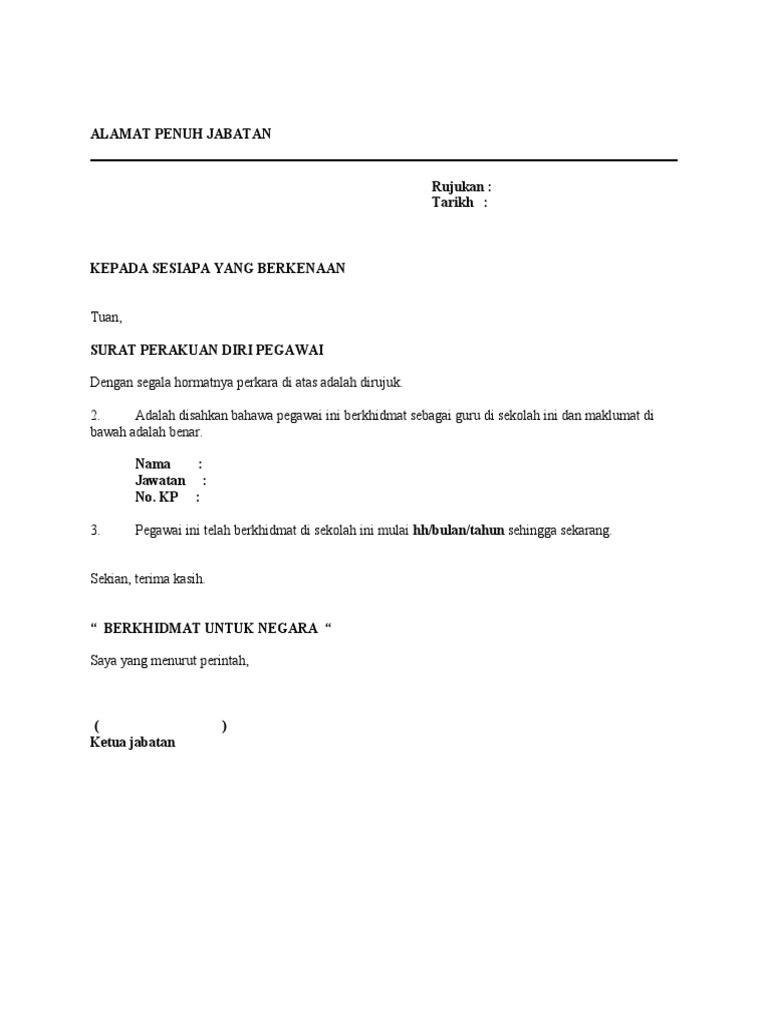 Contoh Surat Perakuan Tempat Bertugas Diri Pegawai