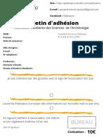 Bulletin Dadhésion