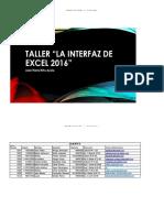 """Taller """"La Interfaz de Excel 2016"""""""