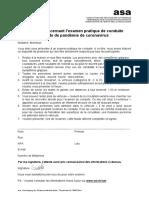 Informations Coronavirus Examen Pratique B B1 BE C C1 CE D D1 110 121 122