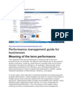 PERFORMANCE MANAGEMENT MATRIX