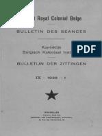Bulletin de l'Institut Royal Colonial Belge 1938-1