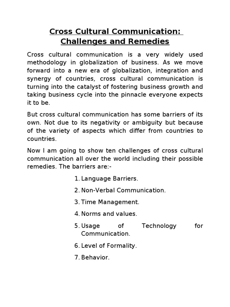 Barriers In Cross Cultural Communication Nonverbal Communication