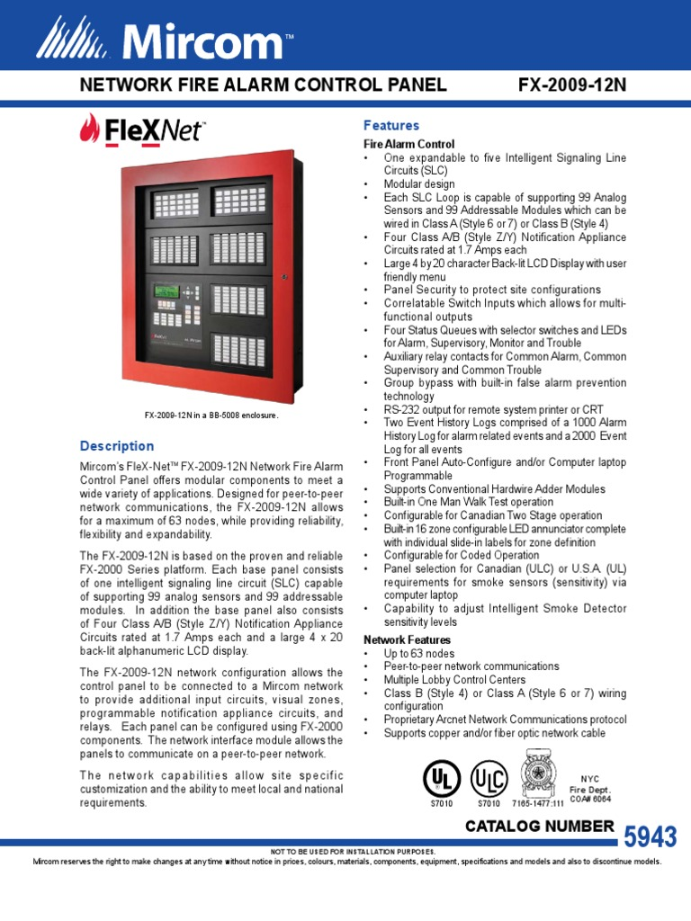 Fire Alarm Control Panel Computer Network Amplifier Signaling Line Circuit Wiring Manual Firelite Alarms