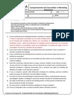 Avaliação de pesquisa 01 - Comportamento do Consumidor e Marketing Relacional