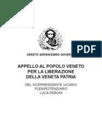Veneto Serenissimo Governo - Appello Patriottico di Luca Peroni