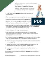 Peter Rabbit Vocabulary Words in Sentences