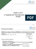 Kapitel 4 und 5 Zweiter Hauptsatz der Thermodynamik und Exergie