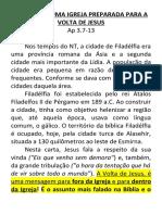 MARCAS DE UMA IGREJA PREPARADA PARA A VOLTA DE JESUS