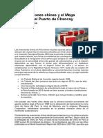 Las inversiones chinas y el Mega Proyecto del Puerto de Chancay