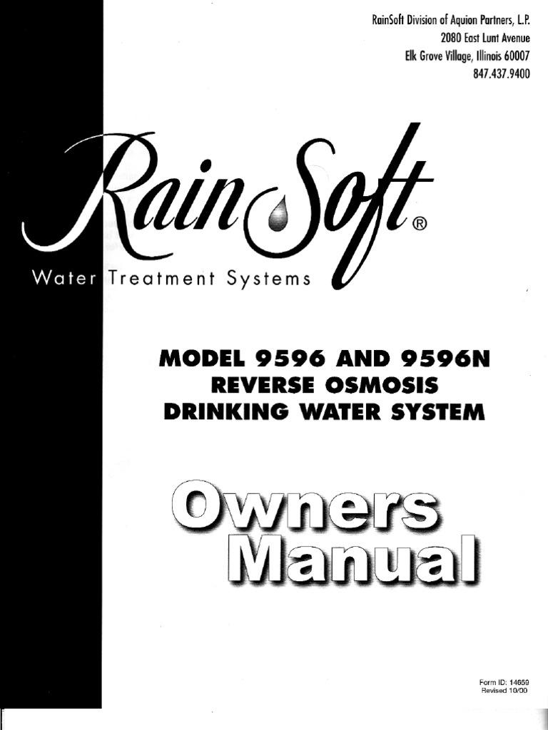 Rainsoft 95-96n reverse osmosis owners manual