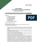 """25-03-11 Relatoría de 4to Foro Regional """"Hacia un nuevo proyecto nacional de Desarrollo"""""""