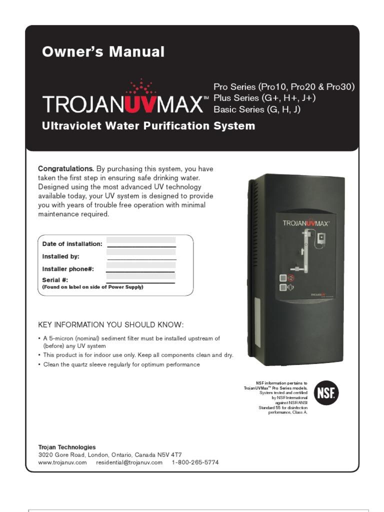 Trojan UVMax G H J Manual | Power Supply | Ac Power Plugs
