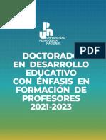Doctorado en Desarrollo Educativo con Énfasis en Formación de Profesores. Convocatoria 2021-2023. UPN