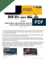 Brasil notifica 1.320 mortes por covid-19 nas últimas 24 horas e média móvel fica abaixo de 1.100 001