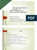 1 Définition Communication d Entreprise Unité 1 (1) (1)