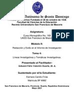 Tarea 4 UASD-SFM. Curso Monográfico No. 168  EFVD