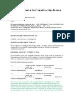 Modelo de Acta de Constitución de una SRL