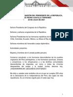 Mensaje a La Nación Presidente Pedro Castillo