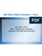 MS Office 2010 reminders - Part 1