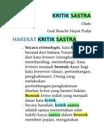 KRITIK SASTRA