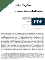 GONZÁLEZ-STEPHAN - Escritura de Memorias Subalternas