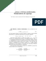 Maximos y minimos condicionados. Multiplicadores de Lagrange